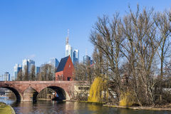 Skyline of Frankfurt an Main with old historic bridge Royalty Free Stock Image