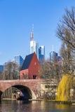 Skyline of Frankfurt an Main with old historic bridge Stock Photo