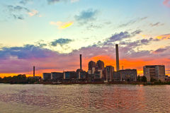 Skyline of Frankfurt am Main at sunset Royalty Free Stock Photography