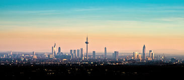 Skyline of Frankfurt am Main during sunset Royalty Free Stock Photography