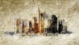 Skyline of frankfurt in modern and abstract vintage look. Artprint Royalty Free Stock Photos
