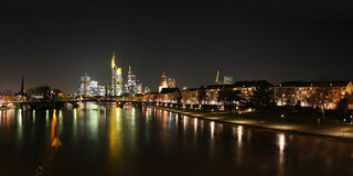 Skyline of Frankfurt and river Main Royalty Free Stock Photography