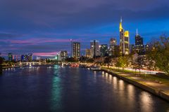 The skyline of Frankfurt with the river Main during blue hour Royalty Free Stock Images