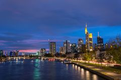 The skyline of Frankfurt with the river Main during blue hour Stock Photography