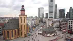 Skyline of Frankfurt with the St. Catherine's Church, Hauptwache and the plaza stock footage