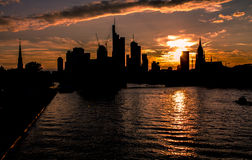 Skyline Frankfurt at sunset Royalty Free Stock Images