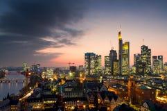 Skyline of Frankfurt at sunset Stock Photo