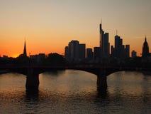 Skyline of Frankfurt at sunset. Silhouette of skyline of Frankfurt am Main Royalty Free Stock Images