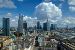 Skyline of Frankfurt under a partly cloudy sky Stock Image