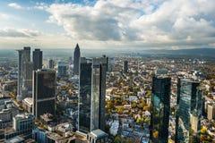 Skyline Frankfurts Deutschland Stockfotografie