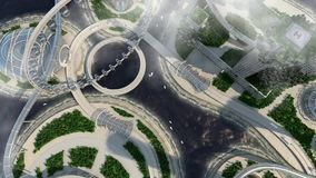 Skyline futura da cidade do conceito Conceito futurista da visão do negócio