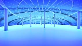 Skyline futura da cidade do conceito Conceito futurista da visão do negócio ilustração 3D Imagem de Stock Royalty Free