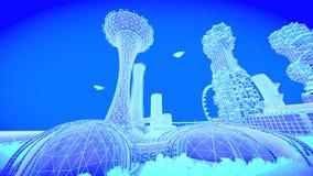 Skyline futura da cidade do conceito Conceito futurista da visão do negócio ilustração 3D Fotografia de Stock Royalty Free