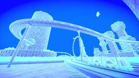 Skyline futura da cidade do conceito Conceito futurista da visão do negócio ilustração 3D Fotos de Stock Royalty Free