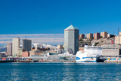 Skyline of Genoa. From the harbor Stock Images