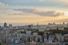 Skyline of Genoa during the sunset Stock Photography