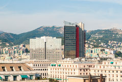 Skyline of Genoa with two modern skyscrapers Stock Images