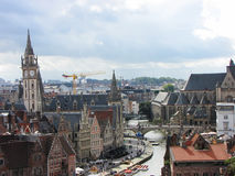 Skyline of Ghent, Belgium Stock Images