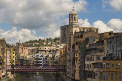 Skyline of Girona's cathedral and river houses Stock Image