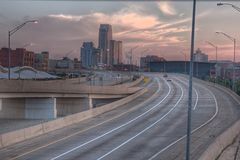 Skyline of Grand Rapids. Morning picture of Grand Rapids Michigan.  Taken from Wealthy street over pass Stock Photography
