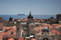 Skyline and giant cruise liner. Dubrovnik royalty free stock image