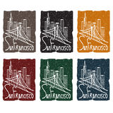 Skyline grunge sticker set Stock Photography