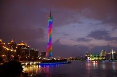 Skyline of Guangzhou. The night scene of Guangzhou tower Stock Photography