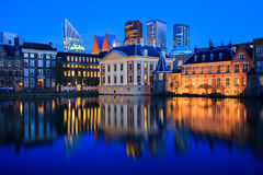 Skyline of The Hague at dusk during blue hour Royalty Free Stock Photo