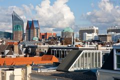 Skyline of The Hague, Dutch governmental city. Skyline of The Hague with cloudscape, Dutch governmental city Stock Images