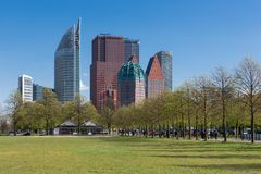 Skyline The Hague with skyscrapers and city park, The Netherlands Stock Photography