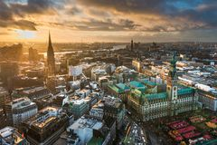 Skyline of Hamburg, Germany. Aerial view of the skyline of Hamburg, Germany Stock Images