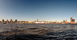 Hamburg-Panorama. Skyline of Hamburg, Germany, viewed from the riverside on the south of the river Elbe Stock Photo