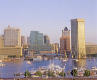 Skyline and Harbor of Baltimore, Maryland Royalty Free Stock Images