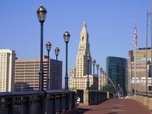 Skyline, Hartford Connecticut. Hartford skyline photographed from pedestrian bridge Royalty Free Stock Photos