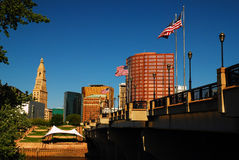 The skyline of Hartford Connecticut. Hartford is the capital of Connecticut and home to many head quarters of insurance companies Royalty Free Stock Images