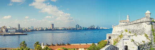 The skyline of Havana with El Morro castle Stock Images