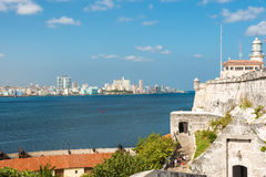 The skyline of Havana with El Morro castle Stock Photos