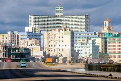 The skyline of Havana and the famous Malecon. Seawall Royalty Free Stock Photos