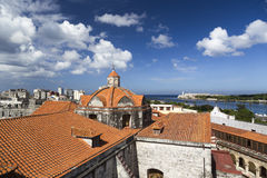 Skyline of Havana and Harbour Entrance Stock Photography