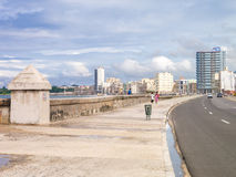 The skyline of Havana and the Malecon seawall. The skyline of Havana with a view of the famous Malecon seawall Royalty Free Stock Image