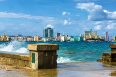 The skyline of Havana with a turbulent sea Royalty Free Stock Photos