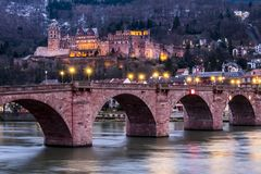 The skyline of Heidelberg in Germany at night. Europe Royalty Free Stock Photo