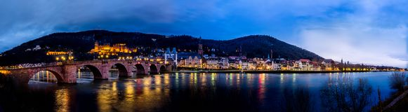 The skyline of Heidelberg in Germany at night. Europe Royalty Free Stock Images