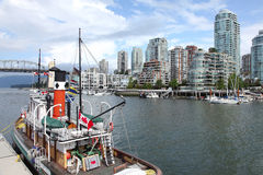 Skyline high rises from Granville island Royalty Free Stock Photo