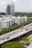 Skyline and highway traffic in Singapore city Royalty Free Stock Image