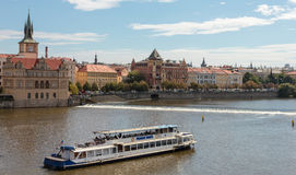 Skyline with historic Charles Bridge. Boat cruise on Vltava river Stock Images