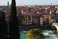 Urban core old mediterranean city at river Royalty Free Stock Photos