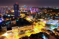 Skyline of Ho Chi Minh City. The beautiful skyline shot of Ho Chi Minh city in Vietnam at night Royalty Free Stock Images
