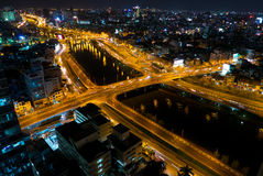 Skyline of Ho Chi Minh city by night with trails of lights, Viet Royalty Free Stock Photo