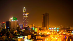 The Skyline of the Ho Chi Minh City at night Stock Photography